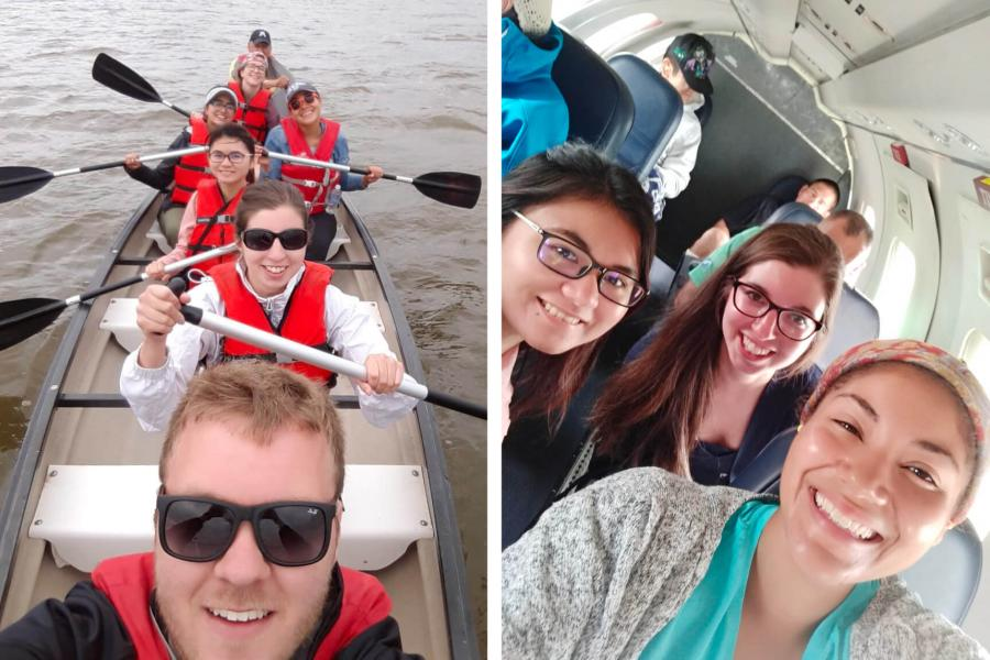 A split image of pharmacy students in a canoe together and on a plane on their way to a remote northern community.