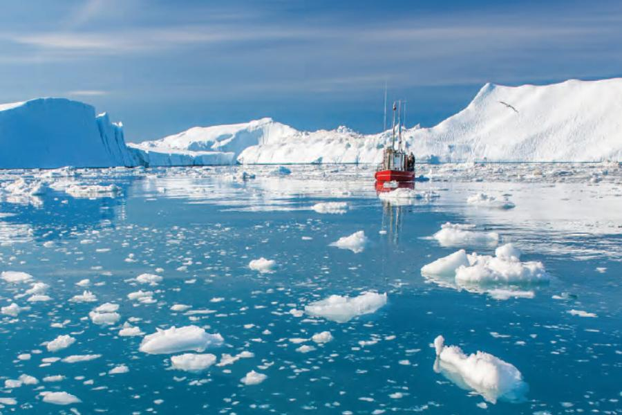 Sea ice researchers in the Arctic.