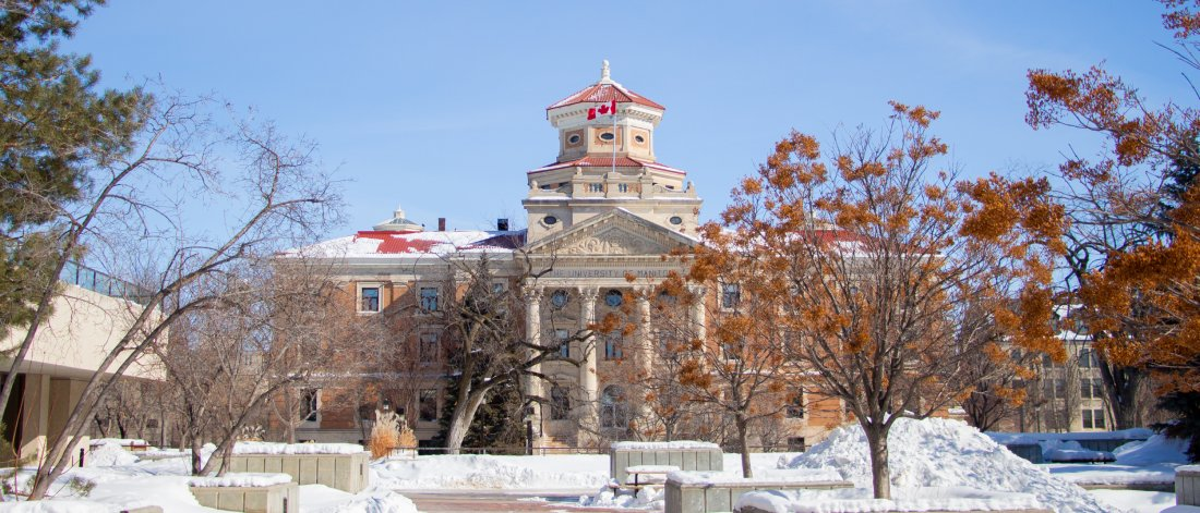The University of Manitoba Administration building on a sunny winter day.