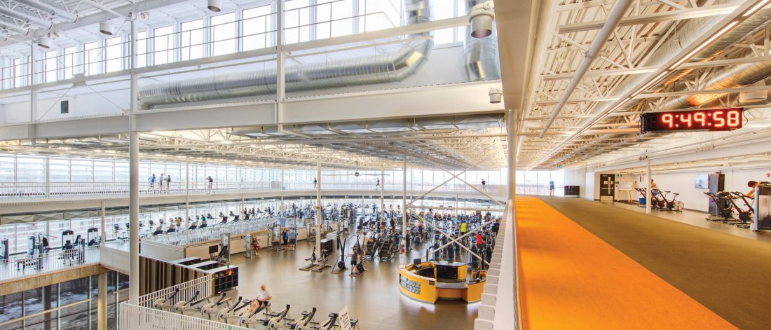 A panoramic view of the Active Living Centre indoor running track and strength and conditioning facilities.
