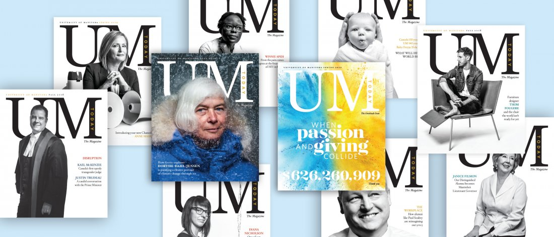 Collage of UM Today The Magazine covers.