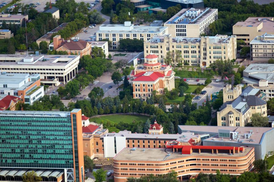 Aerial view of the Fort Garry campus.