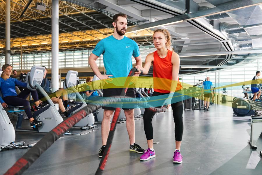 two people using the University of Manitoba Active Living Centre facility