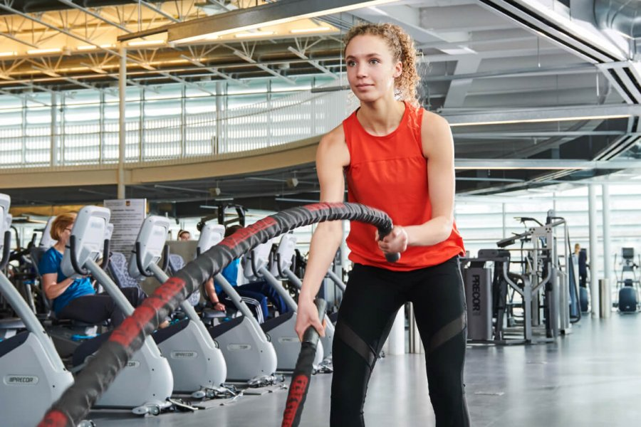 A woman working out at the University of Manitoba Active Living Centre.