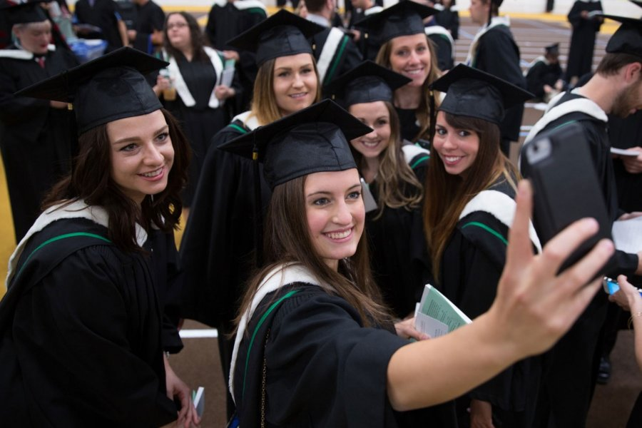 Convocation students taking a selfie