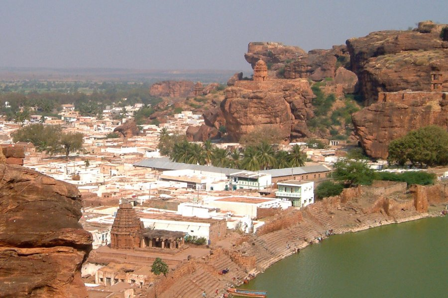 A picturesque view from a hilltop of the town of Badami India.