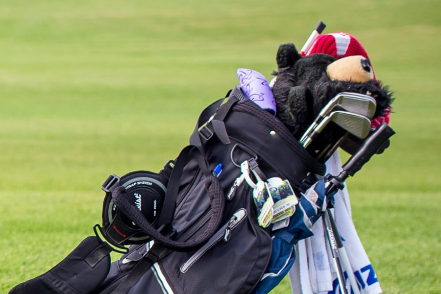 A golf bag sits on the fairway, displaying the tools of the trade.