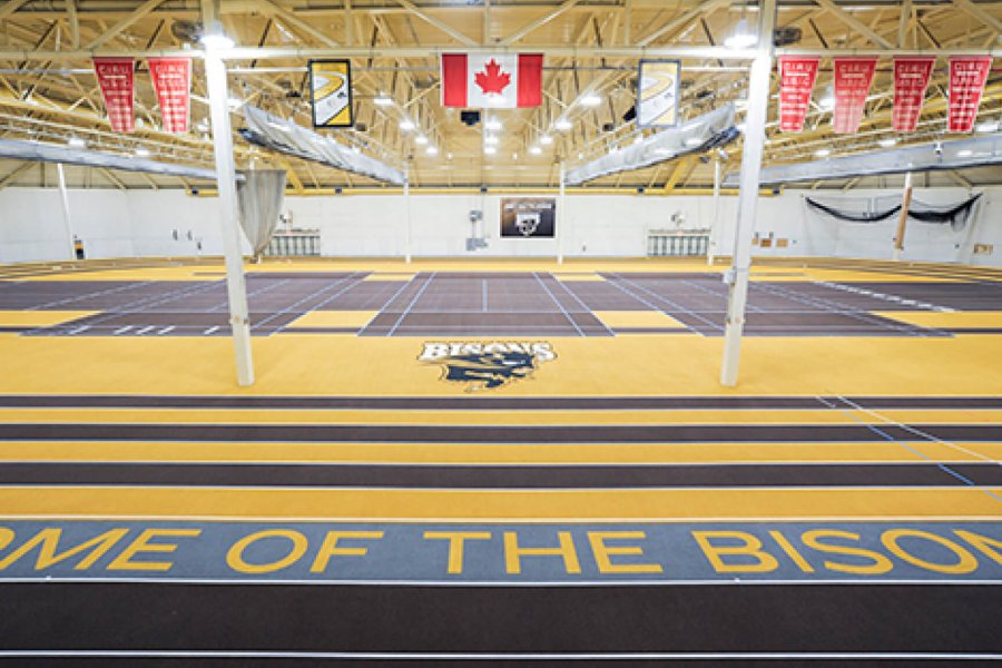 The Max Bell Centre James Daly Fieldhouse high performance banked track and infield courts.