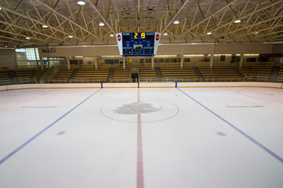 A view of the Max Bell Centre Wayne Fleming Arena ice surface from centre ice.