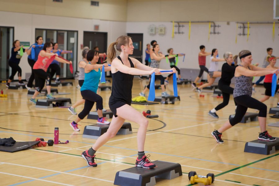 A group of Joe Doupe Recreation Centre members participate in a group fitness class.