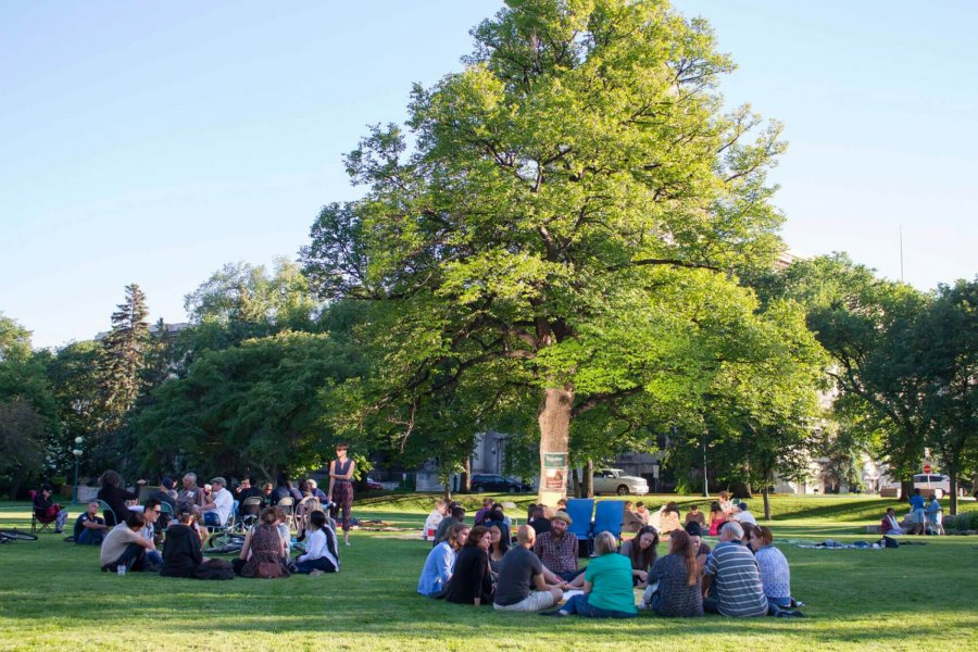 Students gather in small groups seated on the grass in circles in a University of Manitoba campus green space.