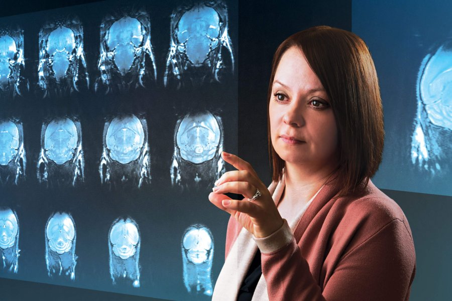 Tamra Ogilvie examines a number of cranial scans on a floating screen.