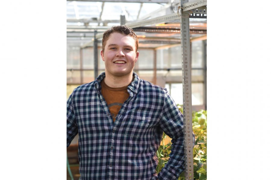 Faculty of Agricultural and Food Sciences student Andrew Vercaigne standing in a greenhouse.