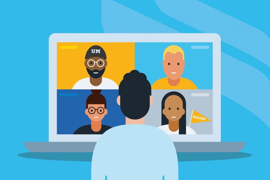 Graphic illustration of student meeting with other students online.