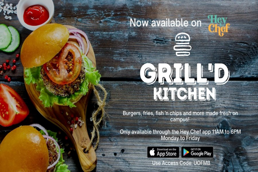 Use the Hey Chef app to order food from Pembina Hall.