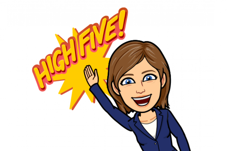 Bitmoji of Connie Korchak, Career Consultant, giving a High Five!