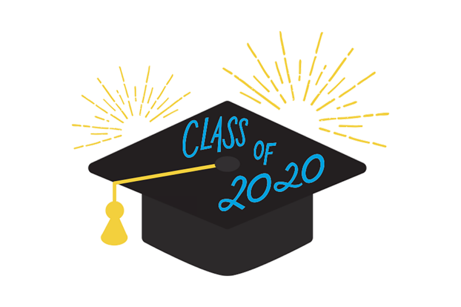 An illustration of a cap with Class od 2020 wwritten on it.