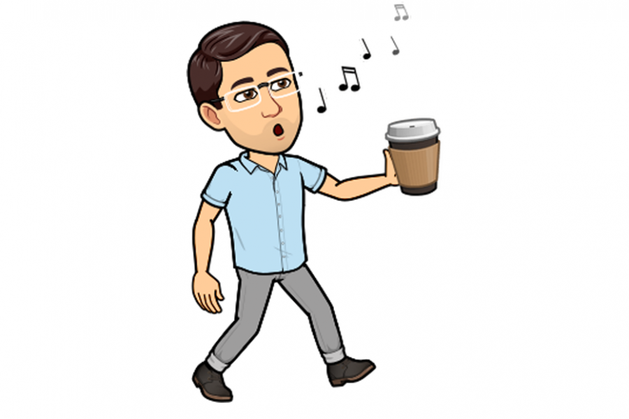 Bitmoji of Trevor Lehmann, Career Consultant, singing with a to-go coffee