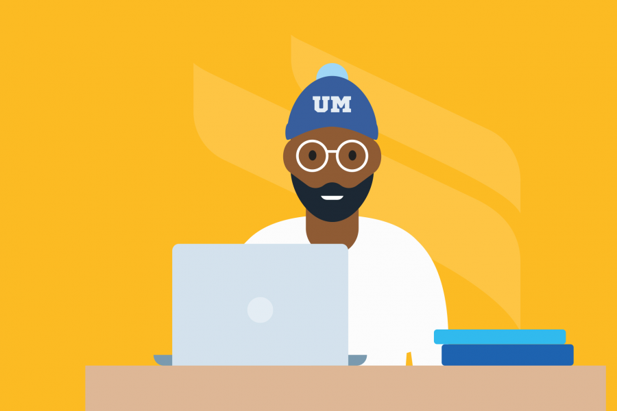 Graphic of student wearing a UM toque sitting at a laptop