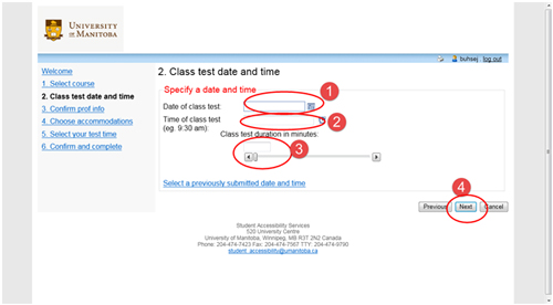 "Fill in the test details based on when the class writes the test/exam. Date of test (1), start time of test (2), length of test (3), and click ""Next"" (4)."