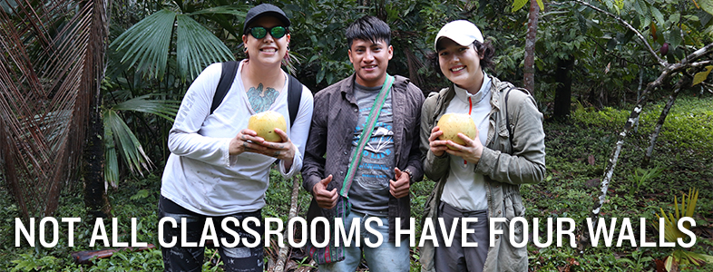 'Not All Classrooms Have Four Walls' – U of M students enjoying coconut water with Mordy Mis, a Q'eqchi' Maya youth leader from Laguna, Belize
