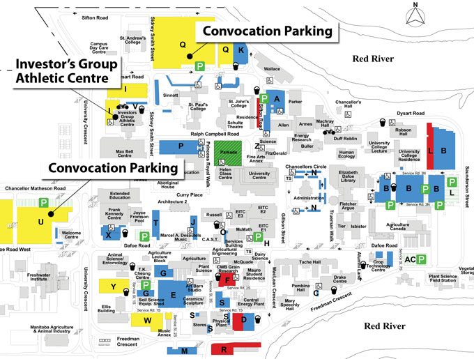 A map detailing the location of Convocation Parking Lots, and where the Investor's Group Athletic Centre is in relation to the other buildings on campus.