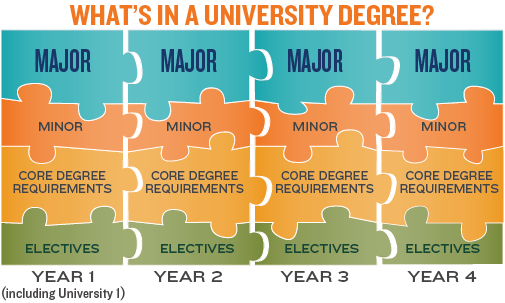 Components of a University degree: a major, a minor, core subject areas and electives.